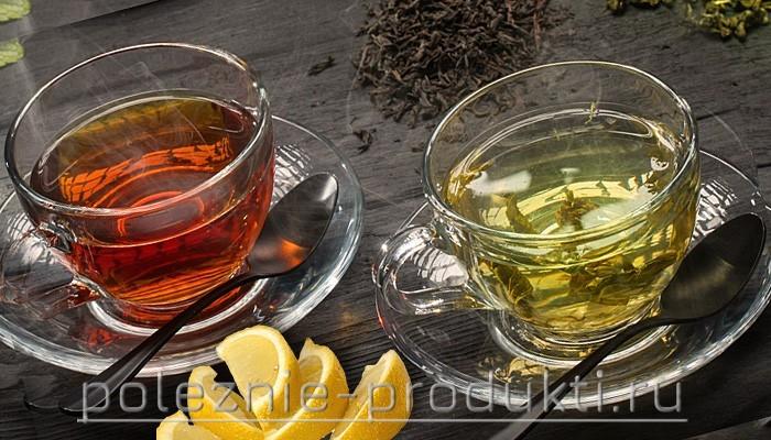 Чай черный и зеленый в чашках