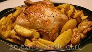 Курица запеченная целиком с картошкой