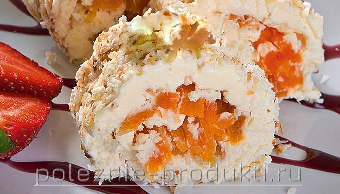 Творожный десерт с курагой